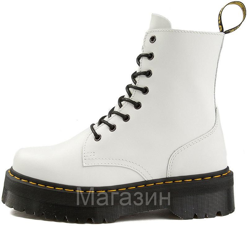 Женские зимние ботинки Dr. Martens Jadon White Доктор Мартинс Жадон белые С МЕХОМ