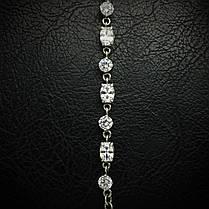 Срібний жіночий браслет з камінням і ланцюжком, 180-230мм, фото 2