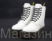 Женские зимние ботинки Dr. Martens Jadon White Доктор Мартинс Жадон белые С МЕХОМ, фото 3