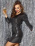Вечірнє плаття-міні з тонкого трикотажу з паєтками, фото 5