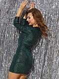 Вечірнє плаття-міні з тонкого трикотажу з паєтками, фото 3