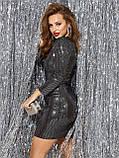 Вечірнє плаття-міні з тонкого трикотажу з паєтками, фото 6