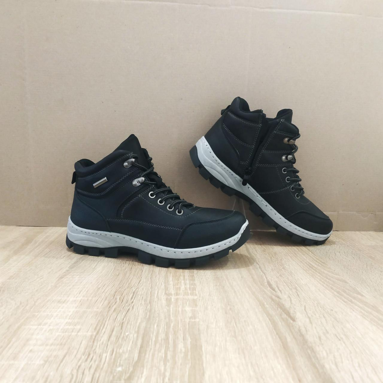 Черные Мужские Ботинки кожаные высокие зимние на змейке теплые эко - кожа в стиле timberland чоботи чоловічі
