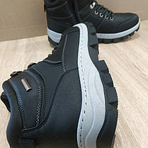 Черные Мужские Ботинки кожаные высокие зимние на змейке теплые эко - кожа в стиле timberland чоботи чоловічі, фото 2