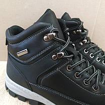 Черные Мужские Ботинки кожаные высокие зимние на змейке теплые эко - кожа в стиле timberland чоботи чоловічі, фото 3