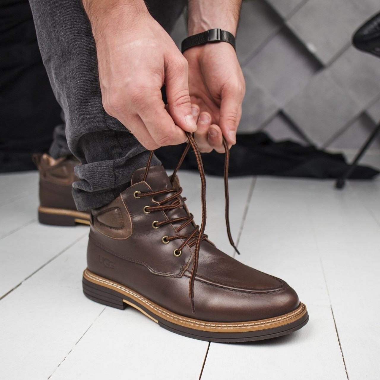 Мужские зимние ботинки UGG с мехом