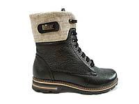 Женские кожаные зимние ботинки на меху Topas 3134 черные