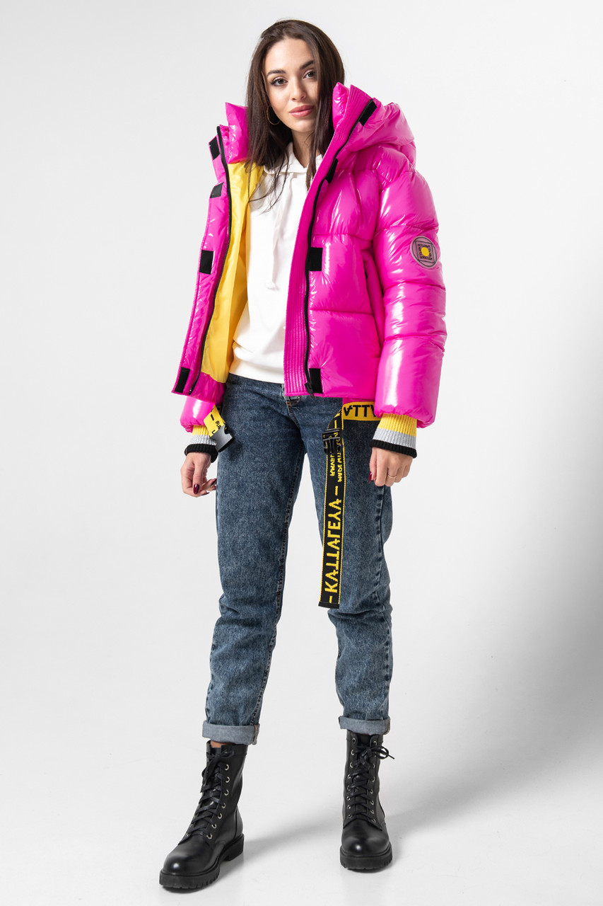 Лаковая женская короткая зимняя куртка KTL-310 (новая коллекция Зима 2019 - 2020) фуксия
