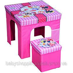 Комплект: раскладной столик + пуф для игрушек Минни Маус Disney (Arditex), WD12135