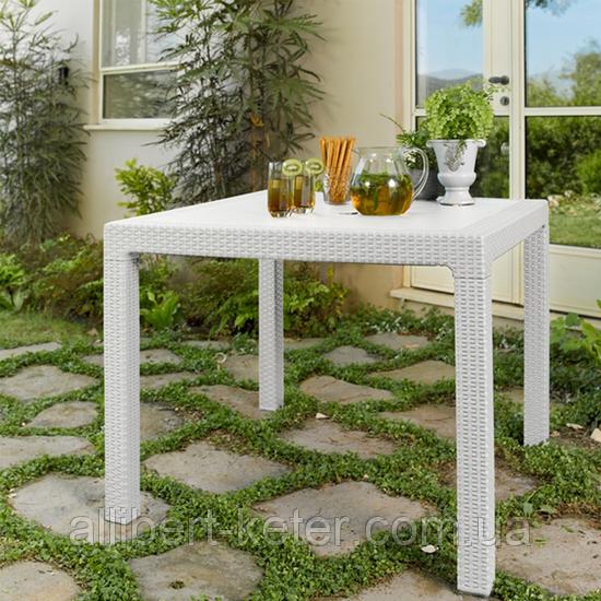 Стол садовый уличный Keter Melody Quartet White ( белый ) из искусственного ротанга
