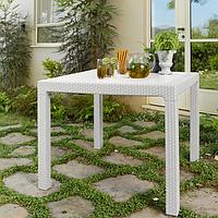 Стол садовый уличный Keter Melody Quartet White ( белый ) из искусственного ротанга, фото 1