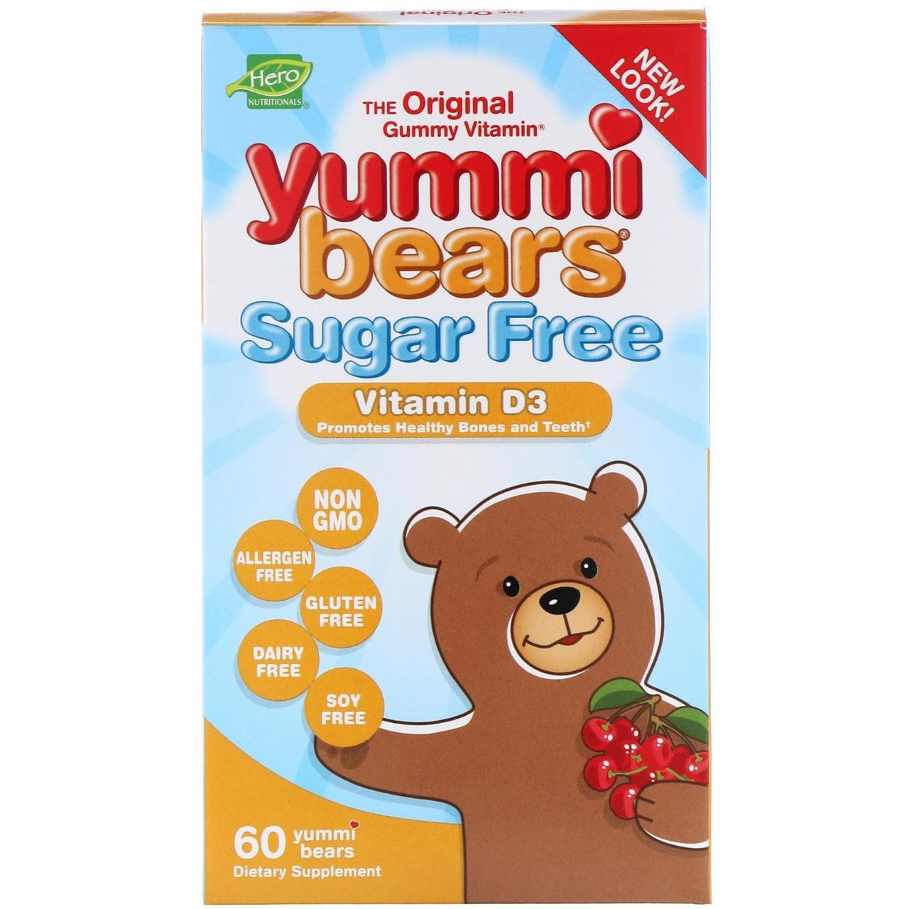 Витамин D3 без сахара для детей, Yummi Bears, Vitamin D3, Hero Nutritional Products, 1000 МЕ, 60 штук