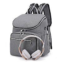 Рюкзак-Сумка для Мам  в ассортименте! UNI-3А СЕРОГО цвета с USB., фото 1