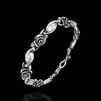 Серебряный женский браслет с розами и фианитами, 195мм
