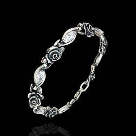 Срібний жіночий браслет з трояндами і фіанітами, 195мм