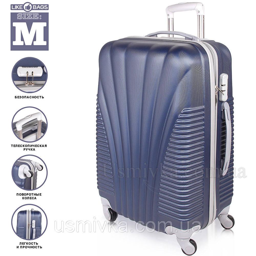 Пластиковый чемодан на 4-х колесах  Blue