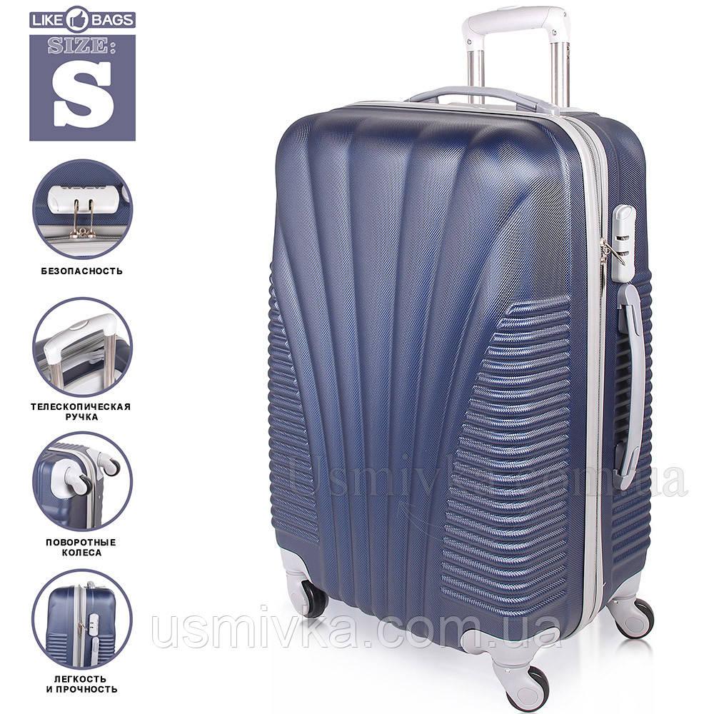 Удобный пластиковый чемодан на колесиках, Dark Blue