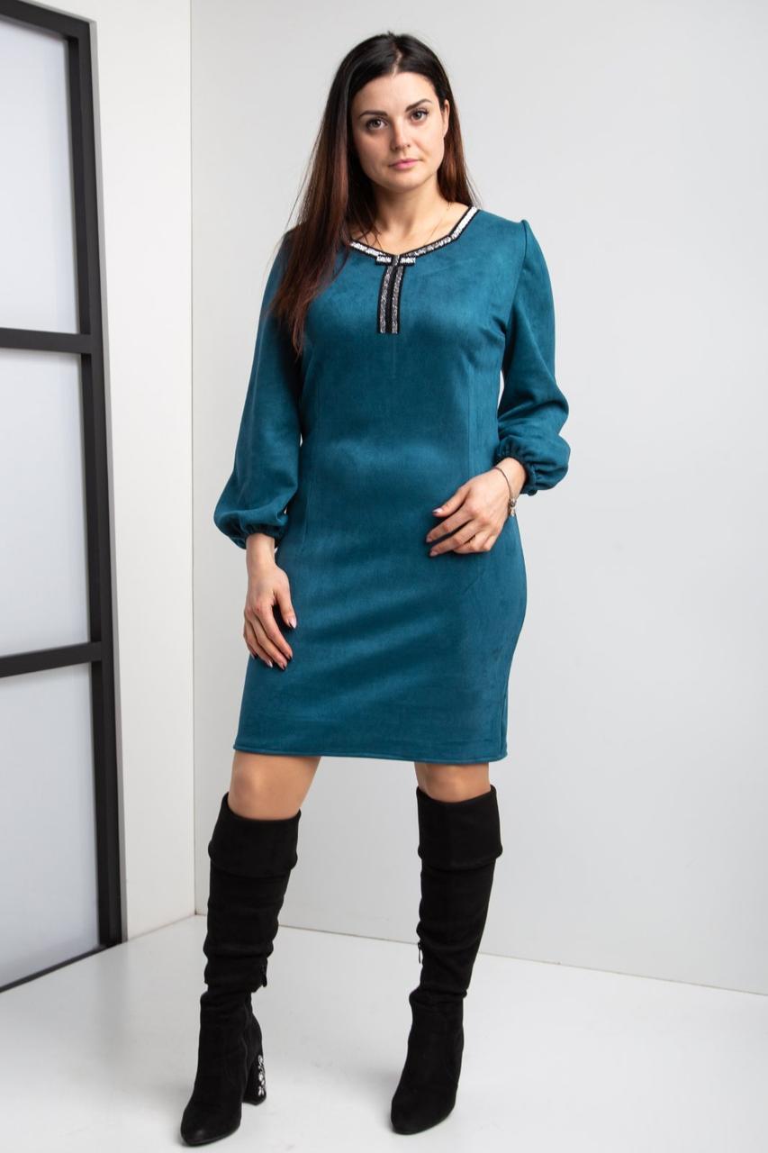 Замшевое коктейльное платье  44-56 р-ры