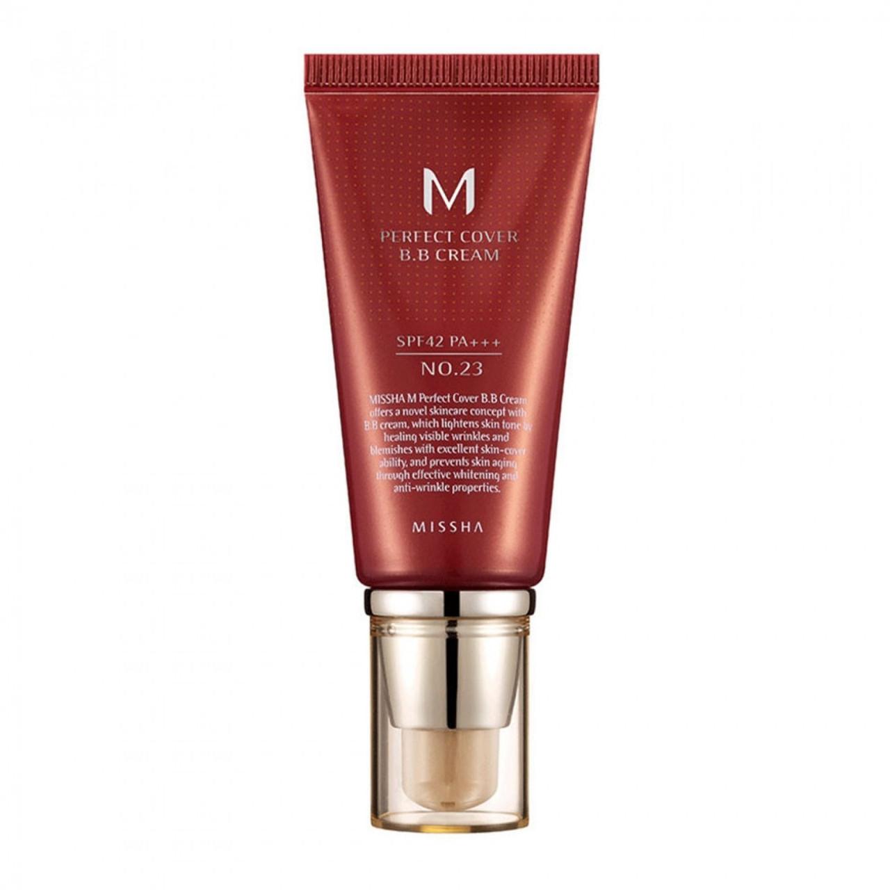 ВВ Крем увлажняющий и матирующий Missha M Perfect Cover BB Cream №27 Медовый бежевый (50 мл)