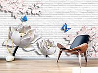 """3D фотообои """"Цветы с бабочками на кирпичной стене"""""""
