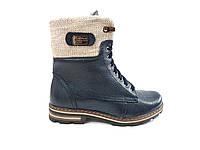 Женские зимние кожаные ботинки на низком ходу с мехом красивые синие 41 размер Topas 3134 2021