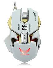 Мышь компьютерная  геймерская Zerodate X300GY  метал оптическая USB проводная белый