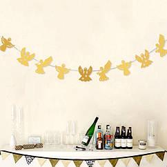 Гирлянда-растяжка новогодний декор Ангелочки золото