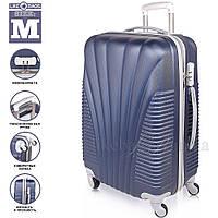 Пластиковый чемодан на 4-х колесах Wanger Blue, фото 1