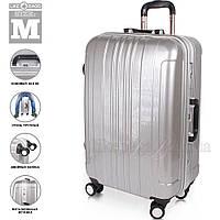 Серый пластиковый чемодан на колесах Wanger Chrome, фото 1