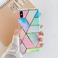 """В подарок +1 чехол!!Силиконовый глянцевый чехол на Iphone 7/8 """"Геометрический мрамор"""""""