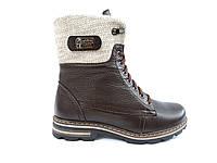 Женские кожаные зимние ботинки на меху низком каблуке повседневные коричневые 36 размер Topas 3134 2020 2021
