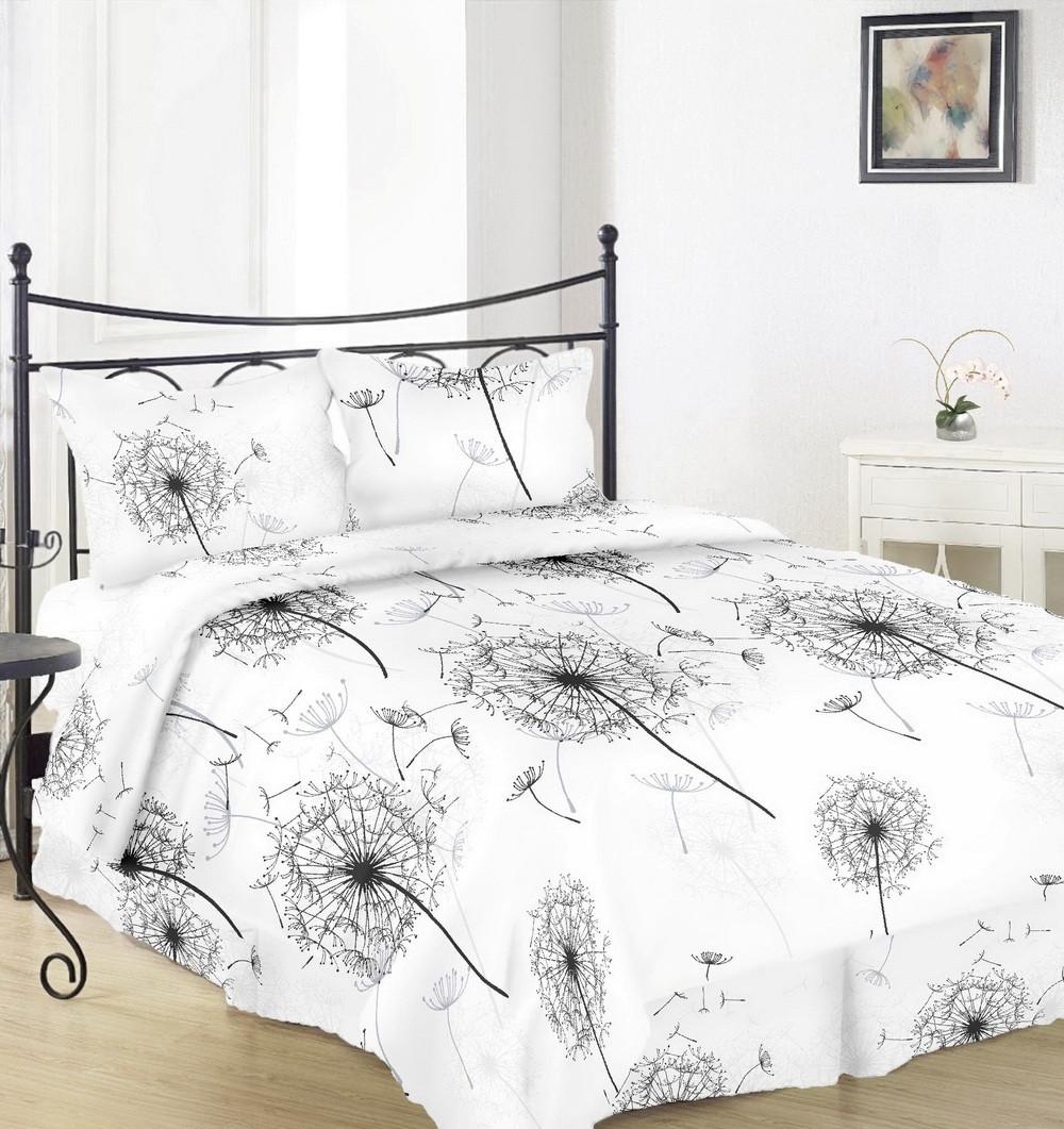 Комплект постельного белья Вилена бязь Голд двуспальный размер Большой одуванчик на белом