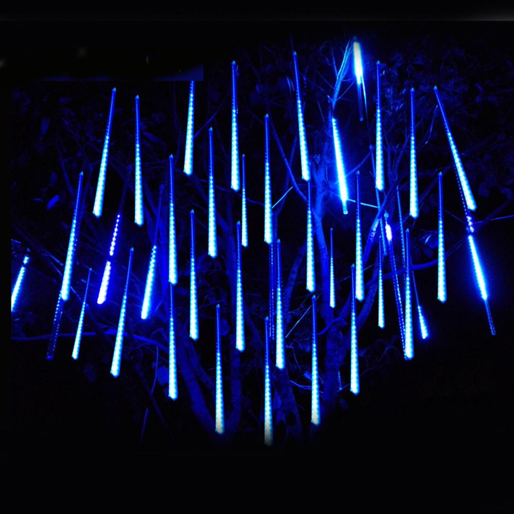 Уличная LED гирлянда Тающие Сосульки, Метеоритный Дождь 2*0,5 Синий, 320 Диодов Силикон 8 Сосулек