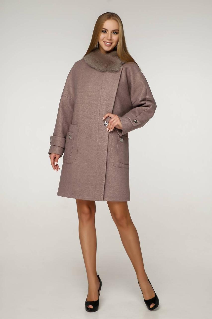 Зимнее пальто из шерсти с натуральным мехом песца 1219 нп (44–54р) в расцветках