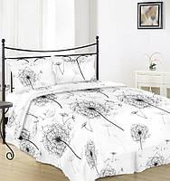 Евро комплект постельного белья Вилена бязь Голд Большой одуванчик на белом