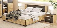 Кровать Вероника 140х200 Зебрано + Венге темный с ламелями Мебель Сервис (203.6х146.4х85.2 см)
