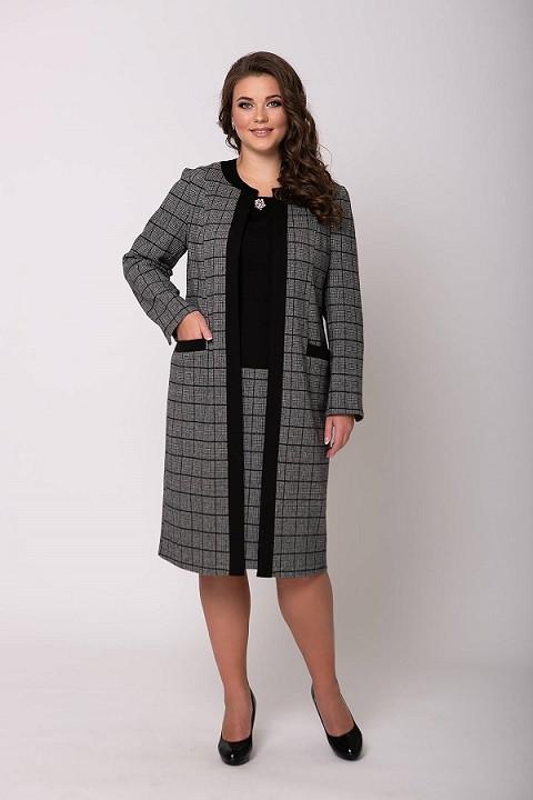 Комбинированная двойка платье+кардиган Дамира серая (54-60)