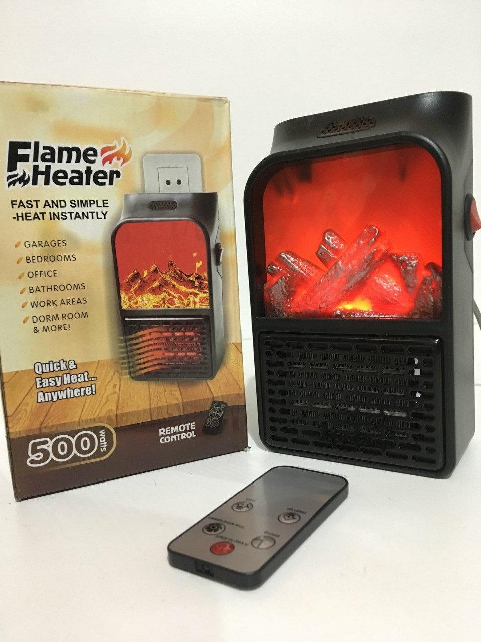 Портативный обогреватель c LCD дисплеем Flame Heater Plus 500W тепловентилятор комнатный с имитацией камина Bl