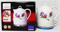 Kettle CB 9111 Crownberg Ceramic, Электрочайник керамический, Электрический чайник из керамики,Чайник на кухню