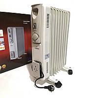 Heater CB 9 S Crownberg 2000W, Масляный радиатор, Масляный обогреватель на 9 секций, Камин с терморегулятором