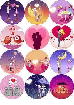 Вафельная картинка  кексов любовь влюбленые