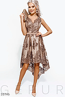 Вечернее платье средней длины с ажурной росписью темно-бежевый