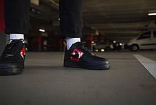 Кроссовки мужские Nike Air Force 1 Low Supreme Black Найк Аир Форс 1  Реплика, фото 3