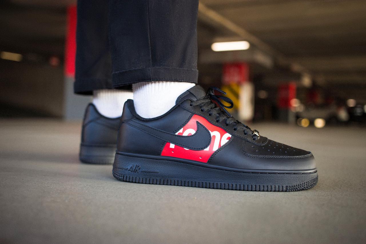 Кроссовки мужские Nike Air Force 1 Low Supreme Black Найк Аир Форс 1  Реплика