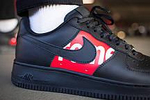 Кросівки чоловічі Найк Аір Форс 1 Low Supreme Black шкіряні з термополиуретановой підошвою Репліка, фото 2
