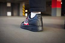 Кросівки чоловічі Найк Аір Форс 1 Low Supreme Black шкіряні з термополиуретановой підошвою Репліка, фото 3