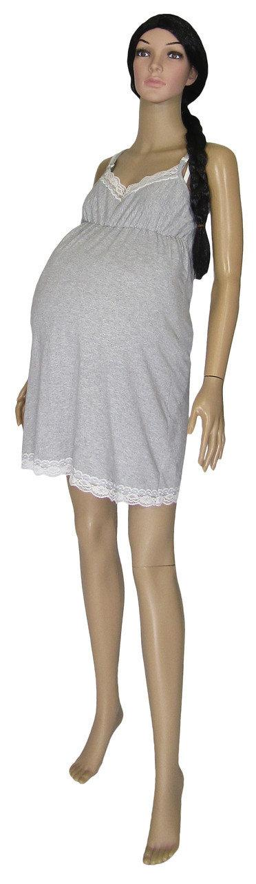 Ночная рубашка и теплый халат для беременных и кормящих 18096 Klipsa Soft серый меланж, р.р.42-50