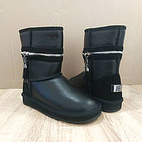 UGG Натуральна шкіра уггі жіночі класичні високі черевики високі чорні чобітки шкіряні уггі