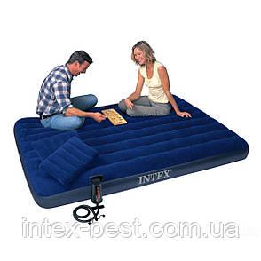 Надувной матрас Intex 68765 с двумя подушками и насосом  (203х152х23 см), фото 2