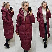 Зимнее пальто с капюшоном бордовое / бургунди М500